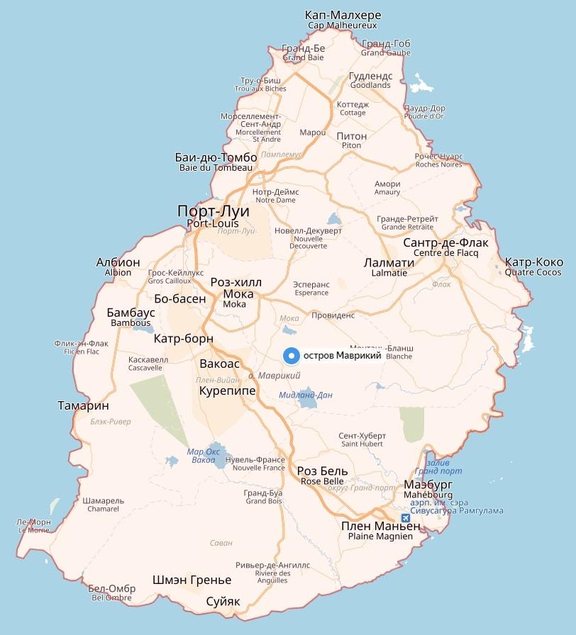 Карта острова Маврикий